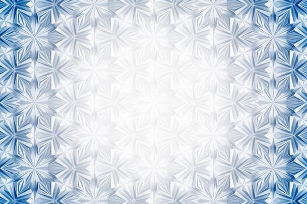 Patrón de geometría de luz tridimensional con flores de seis puntas.