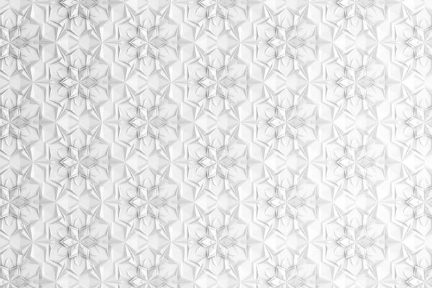 Patrón de geometría tridimensional con flores de seis puntas.