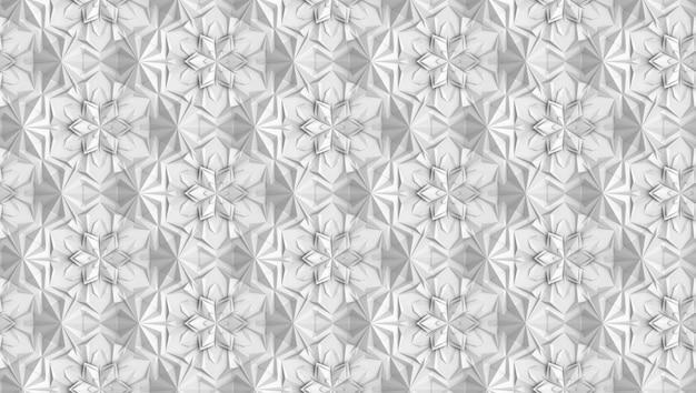 Patrón de geometría tridimensional de la luz con flores de seis puntas.