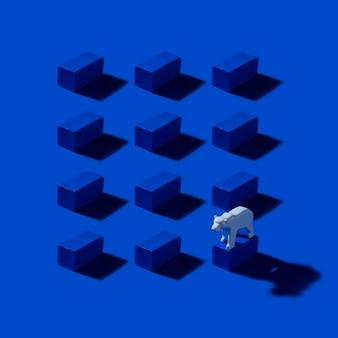 Patrón geométrico con bloques y oso polar sobre fondo azul marino. salvar el ártico y el concepto de calentamiento global