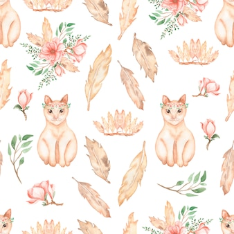 Patrón hermoso, sin costuras, enlosables con animales de gatos de acuarela: lindos gatos rojos con corona de flores, ramos de flores, ramas de hojas, flores de flores de magnolia, plumas y corona con plumas.