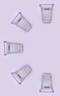 Patrón de muchos pequeños carritos de compras sobre un fondo violeta