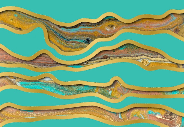 Patrón de ondulación de ágata azul y oro. fondo de mármol con capas de onda.
