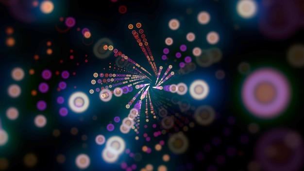 Patrón de puntos de colores de movimiento, fondo abstracto. elegante estilo de neón dinámico, ilustración 3d