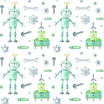 Patrón de robots y herramientas de acuarela sobre fondo blanco.