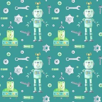 Patrón de robots y herramientas de acuarela sobre fondo verde.