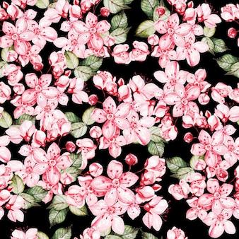 Patrón de seamles con sakura japonesa con flores rosas y hojas verdes