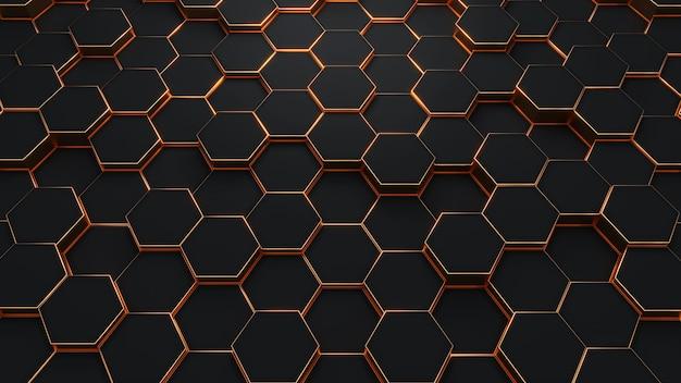Patrón de textura de fondo negro y dorado hexagonal moderno