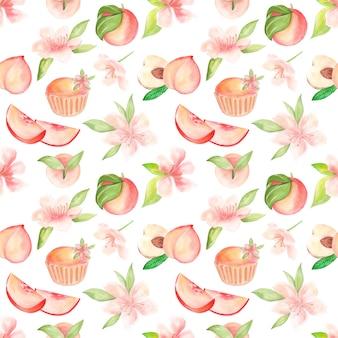 Patrón de trama con ilustración acuarela de frutas