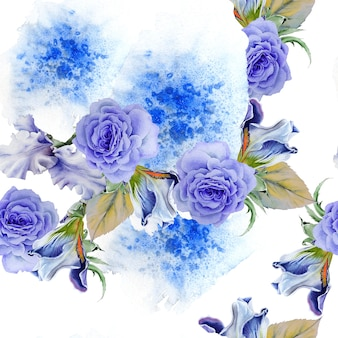 Patrón transparente brillante con flores