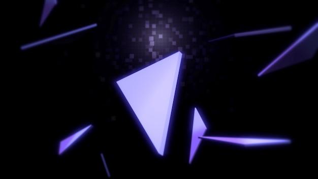 Patrón de triángulos en el espacio, fondo abstracto. estilo geométrico dinámico elegante y lujoso para negocios, ilustración 3d