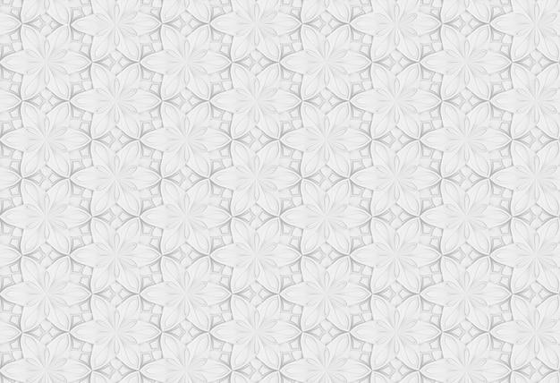 Patrón tridimensional blanco sin costuras con colores de seis puntas.