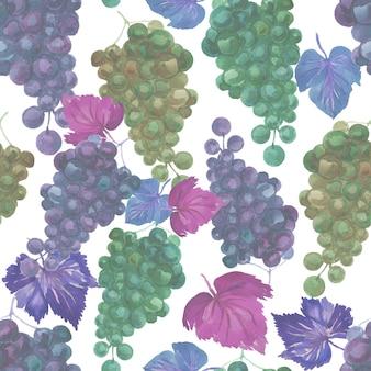 Patrón de uvas acuarela transparente frutas exóticas racimo de hojas acuarela