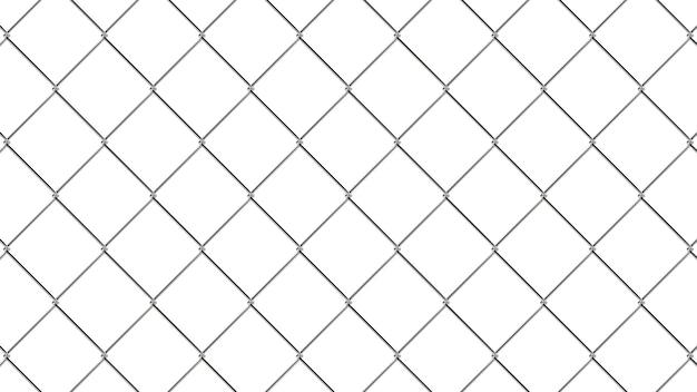 Patrón de valla de alambre. textura geométrica realista. elemento de diseño gráfico para identidad corporativa, sitios web, catálogo. papel pintado de estilo industrial. pared de alambre de acero aislada en blanco. ilustración 3d