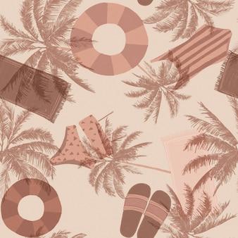 Patrón de verano enlosable sin costuras en tonos nude