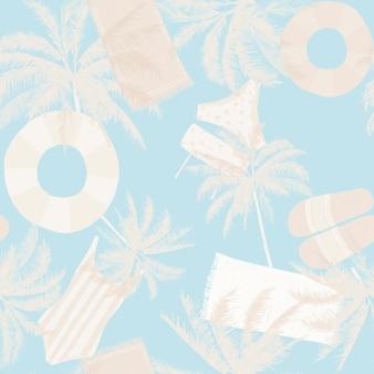 Patrón de verano de playa enlosables sin costuras