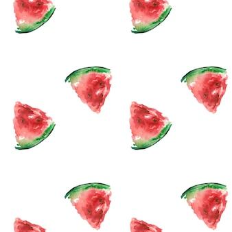 Patrón de verano con una rodaja de acuarela de sandía roja