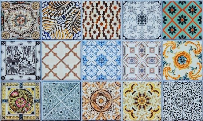 Patrones de azulejos de cerámica de portugal.