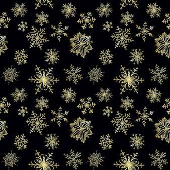 Patrones sin fisuras de copos de nieve de oro dibujados a mano