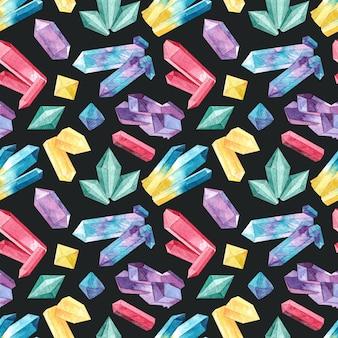 Patrones sin fisuras con cristales acuarelas