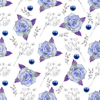 Patrones sin fisuras con flores en tonos azules