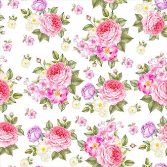 Patrones sin fisuras de rosas
