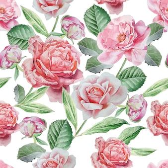 Patrones sin fisuras con rosas.