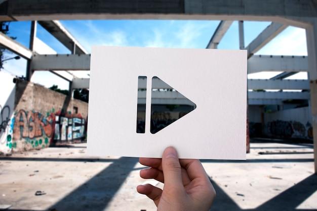 Pausa icono entretenimiento multimedia papel perforado