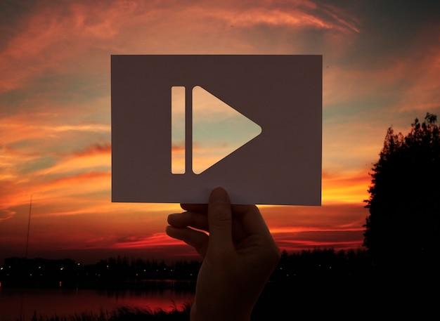 Pausa icono multimedia entretenimiento papel perforado