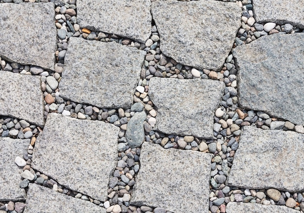 El pavimento es de piedra en forma de losas con bordes irregulares y cantos rodados entre ellos. fondo abstracto de textura para diseñadores.