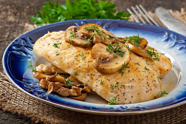 Pechuga de pollo a la plancha con champiñones