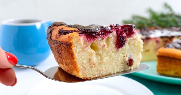Pedazo de pastel de requesón con cerezas y gotas de chocolate. de cerca