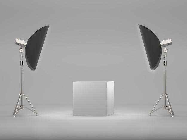 Pedestal blanco para exhibición con soft box light.