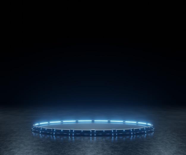 Pedestal de ciencia ficción con luces led brillantes en una habitación oscura