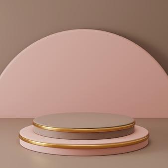 Pedestal de círculo simple con adornos de oro.