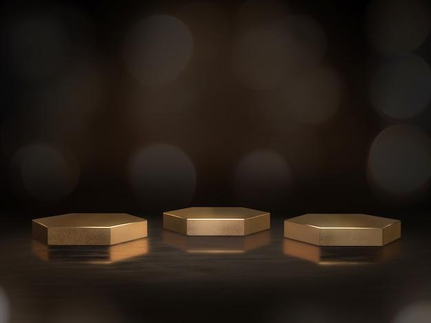 Pedestal dorado para exhibición, plataforma para diseño, soporte de producto en blanco con fondo bokeh. representación 3d