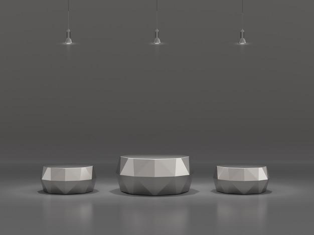 Pedestal para exhibición de productos con lámparas en fondo claro.