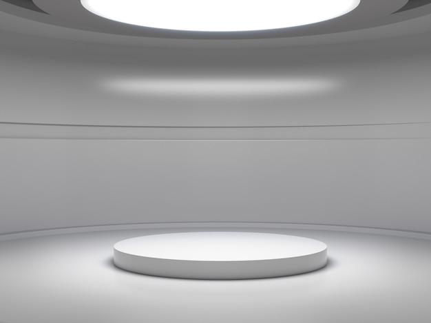 Pedestal para exhibir en una sala blanca vacía con luces desde arriba, soporte de producto en blanco.