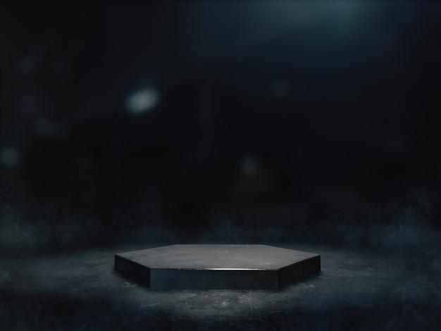 Pedestal con exposición de productos en cuarto oscuro.