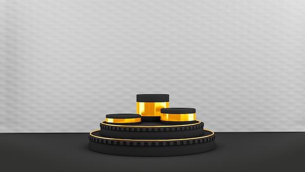 Pedestal con formas circulares negras y doradas