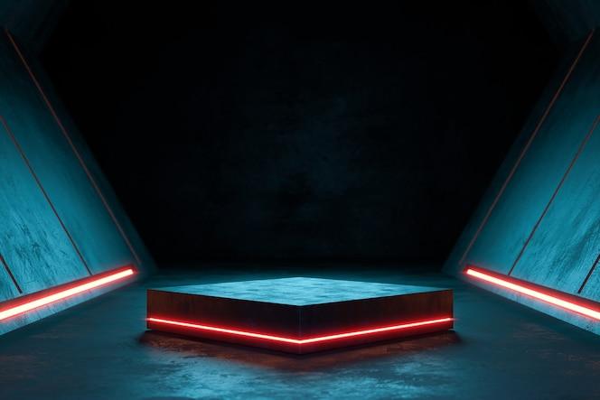 Pedestal futurista para presentación de productos, soporte de productos en blanco