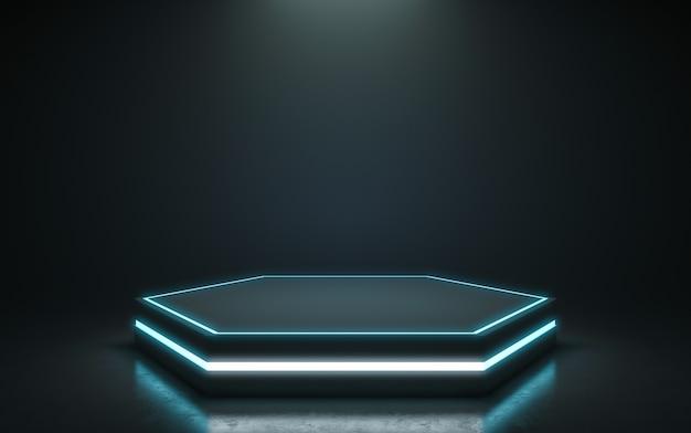 Pedestal futurista para su exhibición. podio en blanco para producto. representación 3d