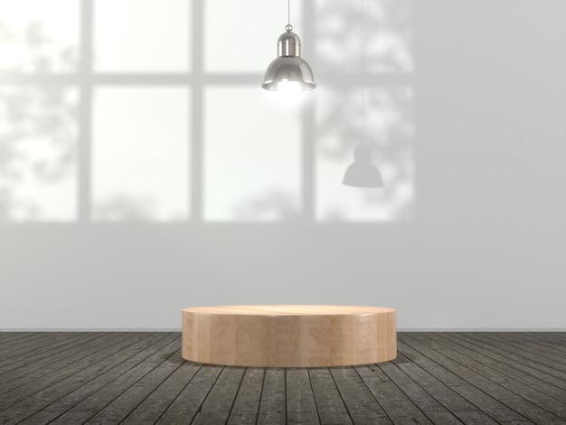 Pedestal de madera para mostrar el producto en vacío.