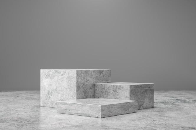 pedestal de mármol o exhibición del producto sobre fondo de lujo con concepto de presentación. etapa de podio de piedra. representación 3d