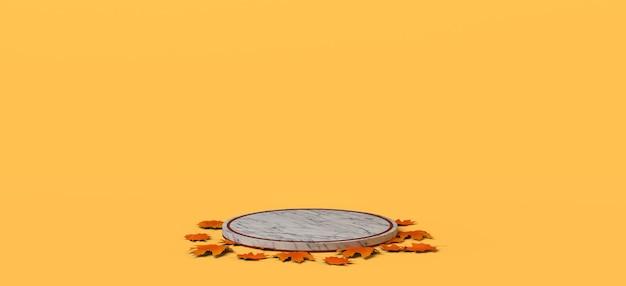 Pedestal de mármol de temporada de otoño vacío con hojas secas sobre fondo amarillo ilustración 3d