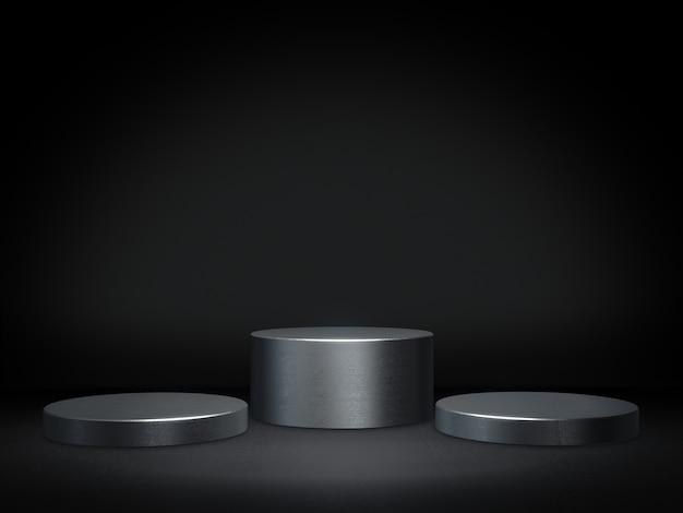 Pedestal de metal para exhibición, plataforma para diseño, soporte de producto en blanco. representación 3d.