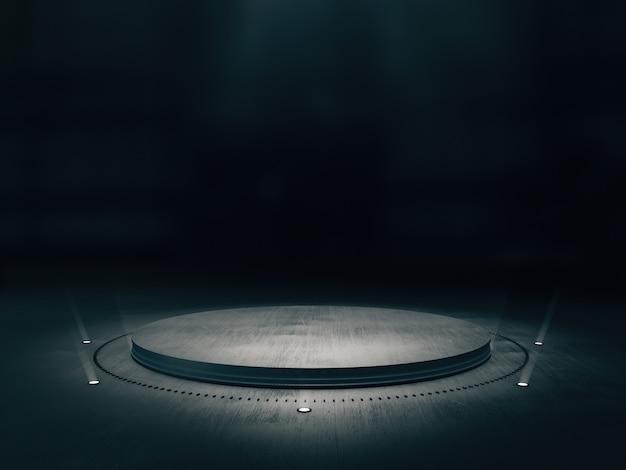Pedestal de metal para exhibición de producto con punto de luz en el fondo.