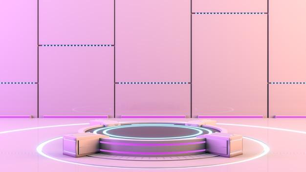 Pedestal de plataforma en blanco de tecnología de ciencia ficción futurista para presentación de producto