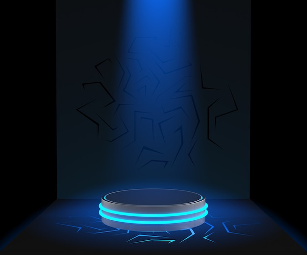 Pedestal de renderizado 3d para exhibición, soporte de producto en blanco, luz azul
