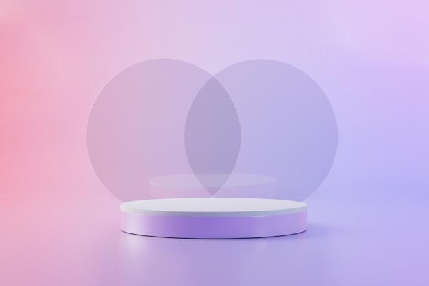 Pedestal rosa con dos esferas de vidrio para presentación de producto render 3d